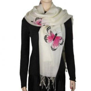 100% Cashmere Scarf Hand Painted Water Color Butterfly