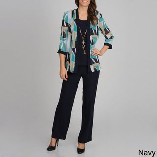 Richards Womens Abstract Printed 2fer Top and Pant Set