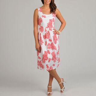 La Cera Womens Floral Print Pleated Tank Dress