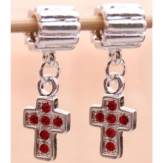 Bleek2Sheek Silverplated Red Rhinestone Cross Charm Beads (Set of 2