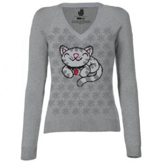 Big Bang Theory Pixel Kitty Juniors V Neck Sweater