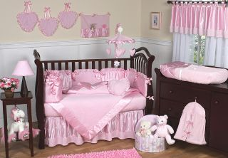 Chenille and Satin Girls 12 piece Baby Bedding Set