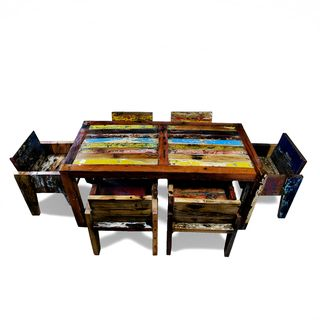 Ecologica Reclaimed Wood Multi Color Dinning Table