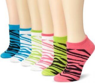 K. Bell Socks Womens 6 Pack Zebra Brights No Show Socks