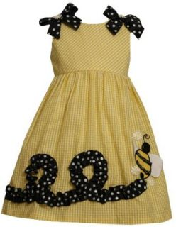 Bonnie Jean Girls 2 6X Bumble Bee Applique Seersucker