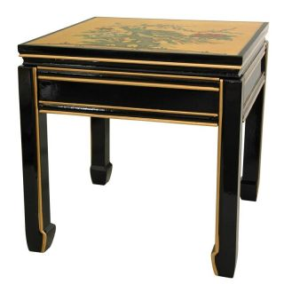 Wooden 18 inch Black/ Gold Leaf Square Ming Table (China)