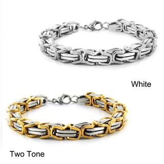 West Coast Jewelry Stainless Steel Byzantine Mens Bracelet