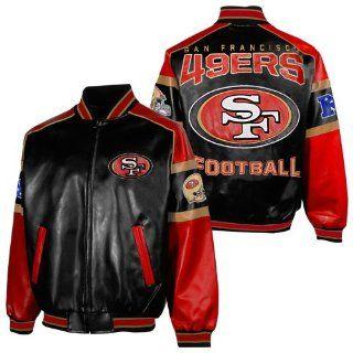 NFL San Francisco 49Ers Mens Post Game Pleather Jacket