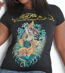 Ed Hardy womens plus size mermaid shirt Black Clothing