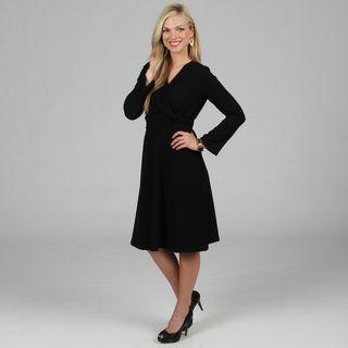 Womens Black Mock Wrap Dress