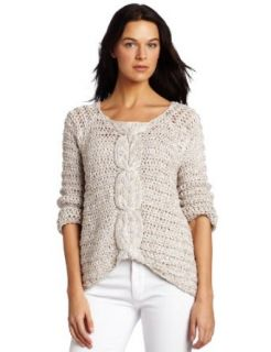 525 America Womens Center Cable Asym Hem Sweater
