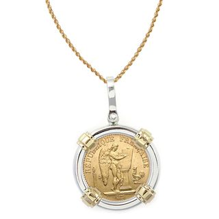 14k Gold Sterling Silver French 20 Franc Lucky Angel Gold Piece Coin