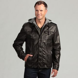 Izod Mens Faux Leather Jacket with Zip out Hood