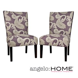 angeloHOME Bradford Feathered Paisley Amethyst Purple Upholstered