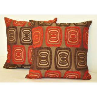 Sherry Kline 18 inch Retro Red Brown Pillows (Set of 2)
