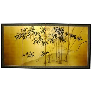 Silk and Wood 18 inch Gold Leaf Bamboo Wall Hanging/ Screen (China