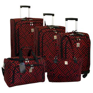 Jenni Chan Signature Black/Red 5 piece Spinner Luggage Set