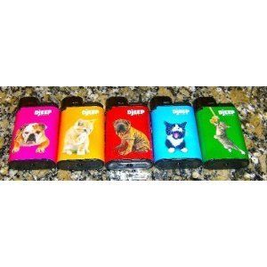 LOT OF 5 DJEEP CRAZY PET SERIES LIGHTERS FULL SET NICE