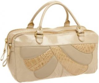 Cynthia Rowley Vivienne Crinkle Patent Satchel,Putty,one