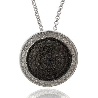 Sterling Silver Black and White Diamond Accent Circle Necklace
