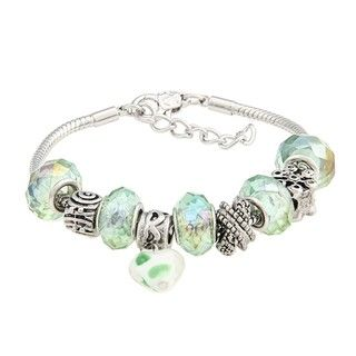 La Preciosa Glass Clear, Green Bead Bracelet