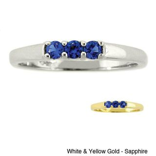 10k Gold Birthstone Designer 3 stone Ring