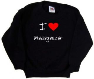 I Love Heart Madagascar Black Kids Sweatshirt Clothing