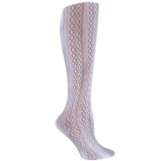 White Lace Styled Textured Knee High Trouser Socks