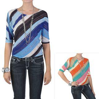 Journee Collection Juniors Scoop Neck Half sleeve Striped Top