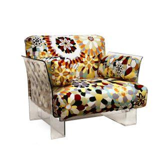 Floral Cushions/ Clear Acrylic Pop Chair