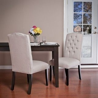 Christopher Knight Home Crown Fabric Off white Dining Chairs (Set of 2