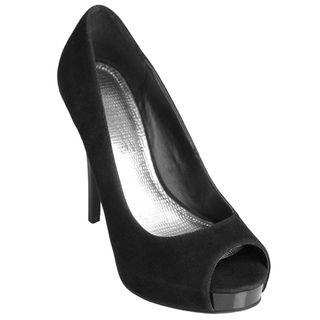 Journee Collection Womens Obscene 76 Faux Suede Peep Toe Stilettos