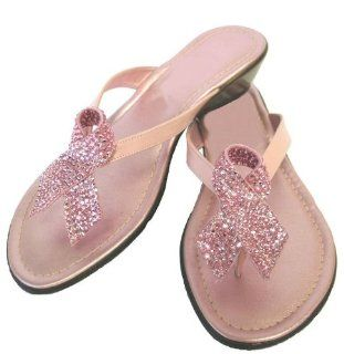 : Dezario Hope Sandals with Pink Crystal Breast Cancer Ribbon: Shoes