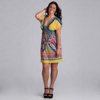 White Mark Womens Plus Size Ibiza Pink and Turquoise Sleeveless