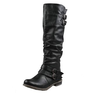 Refresh by Beston Womens Bailey 03 Black Riding Boots