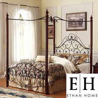 ETHAN HOME Madera Deco Queen size Canopy Metal Bed