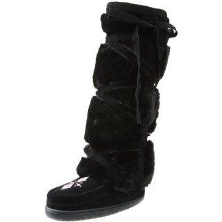 Manitobah Mukluks Womens Tall Wrap Boot,Black,6 M US Shoes