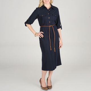 Sharagano Womens Shirt Dress with Rope Belt