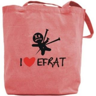 Canvas Tote Bag Pink  I Love Efrat  Name Clothing