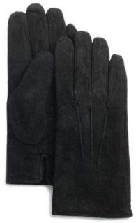 Isotoner Womens Suede Gloves, Black, Large: Clothing
