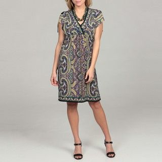 London Times Womens Paisley Kimono Jersey Dress
