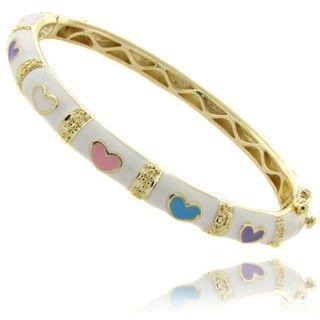 Molly and Emma 14k Gold Overlay Childrens White Heart Bangle Bracelet