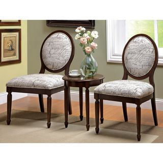 Milanie 3 piece Dark Walnut Accent Chair and Table Set