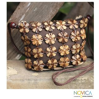Handcrafted Coconut Shell Petite Garden Shoulder Bag (Thailand
