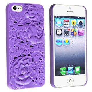 BasAcc Purple 3D Sculpture Rose Rear Case for Apple iPhone 5