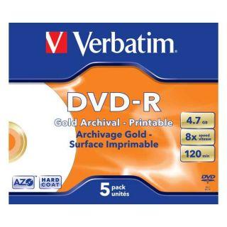 CD   DVD   BLU RAY VIERGE VERBATIM   Gold Archival   5 x DVD R   4.7
