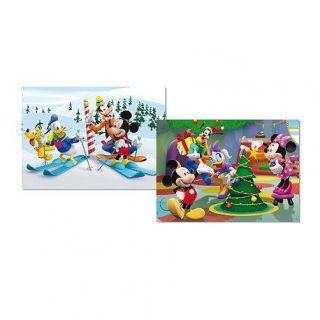 Puzzle 2 x 48 pièces   Mickey Mouse  Lhiver   Achat / Vente PUZZLE