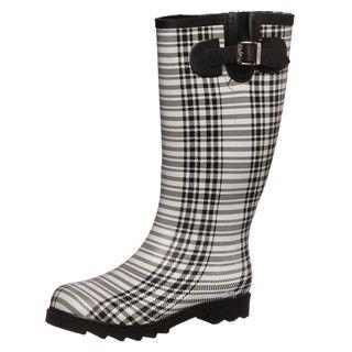 Dirty Laundry Womens Raindrop Black/White Rain Boots