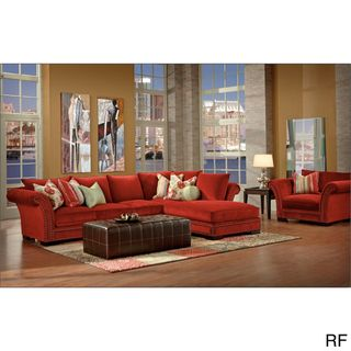Venice 2 piece Red Nail Head Fabric Oversized Sectional