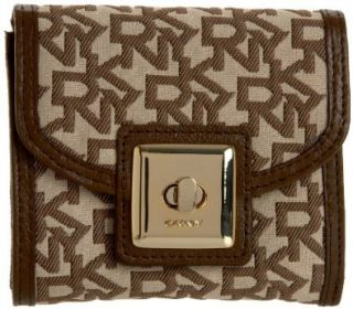com DKNY R1123001 Small Turn Lock Wallet,Chino/Brown,One Size Shoes
